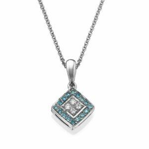 שרשרת יהלומים לבנים וכחולים 0.24 קראט משובצים בתליון זהב-לבן 14 קראט