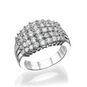 טבעת יהלומים, דגם ליהי, זהב לבן 14 קראט, יהלומים 1.8 קראט