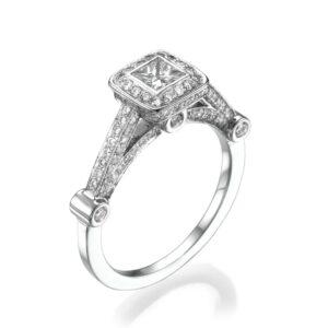 טבעת יהלומים, דגם מיטל, זהב לבן 14 קראט, 1.02 קראט