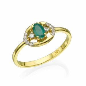 0.23 carat Emerald Ring , 14 karat yellow Gold, set with Diamonds
