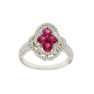 0.89 carat Ruby gem​​stone in 14 karat white Gold Ring set with Diamonds