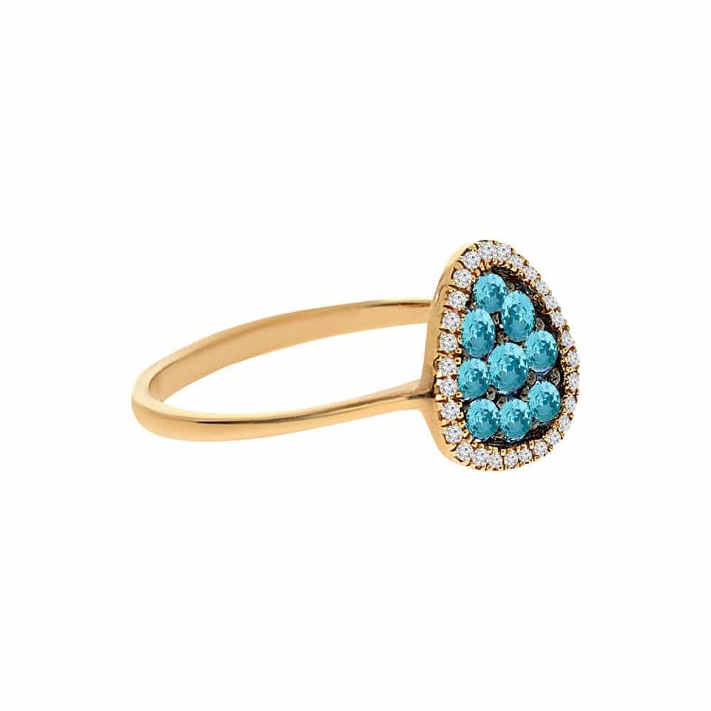 טבעת בלו טופז 0.42 קראט, זהב-צהוב 14 קראט, משובצת 0.08 קראט יהלומים