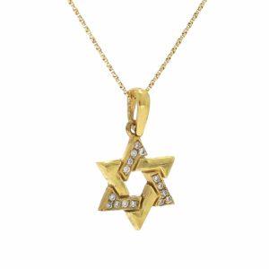 תליון מגן דוד, זהב-צהוב 14 קראט, בשיבוץ יהלומים 0.07 קראט