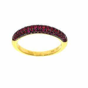 טבעת אבני רובי 0.72 קראט, זהב -צהוב 14 קראט