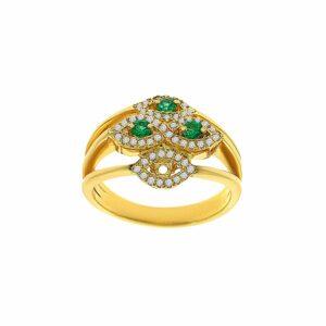 טבעת אמרלד, זהב-לבן 14 קראט, משובצת 0.28 קראט יהלומים