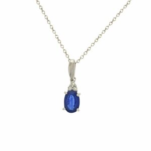 A Diamond and Sapphire Necklace set in a 14 karat white Gold Pendant