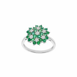 טבעת אמרלד 0.88 קראט בצורת פרח משובצת יהלומים בזהב לבן 14 קראט