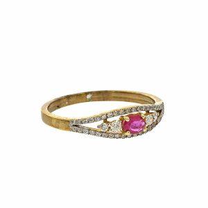 טבעת אבן רובי 0.15 קראט ויהלומים 0.17 קראט זהב צהוב 9 קראט