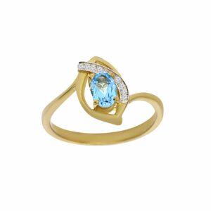 טבעת בלו טופז 0.50 קראט, זהב-צהוב 9 קראט, בשיבוץ 0.02 קראט יהלומים