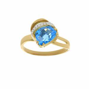 טבעת בלו טופז 1.92 קראט, זהב-צהוב 14 קראט, בשיבוץ 0.04 קראט יהלומים