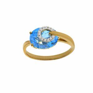 טבעת בלו טופז 3.47 קראט, זהב-צהוב 14 קראט, בשיבוץ 0.03  קראט יהלומים