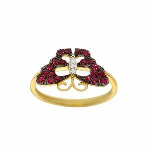 טבעת רובי בצורת פרפר, זהב-צהוב 9 קראט