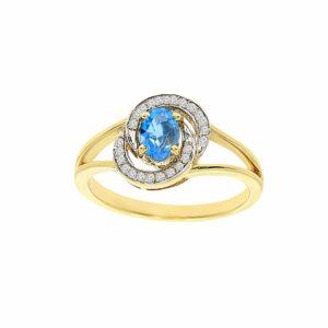 טבעת בלו טופז 0.48 קראט, זהב-צהוב 14 קראט, בשיבוץ 0.07 קראט יהלומים