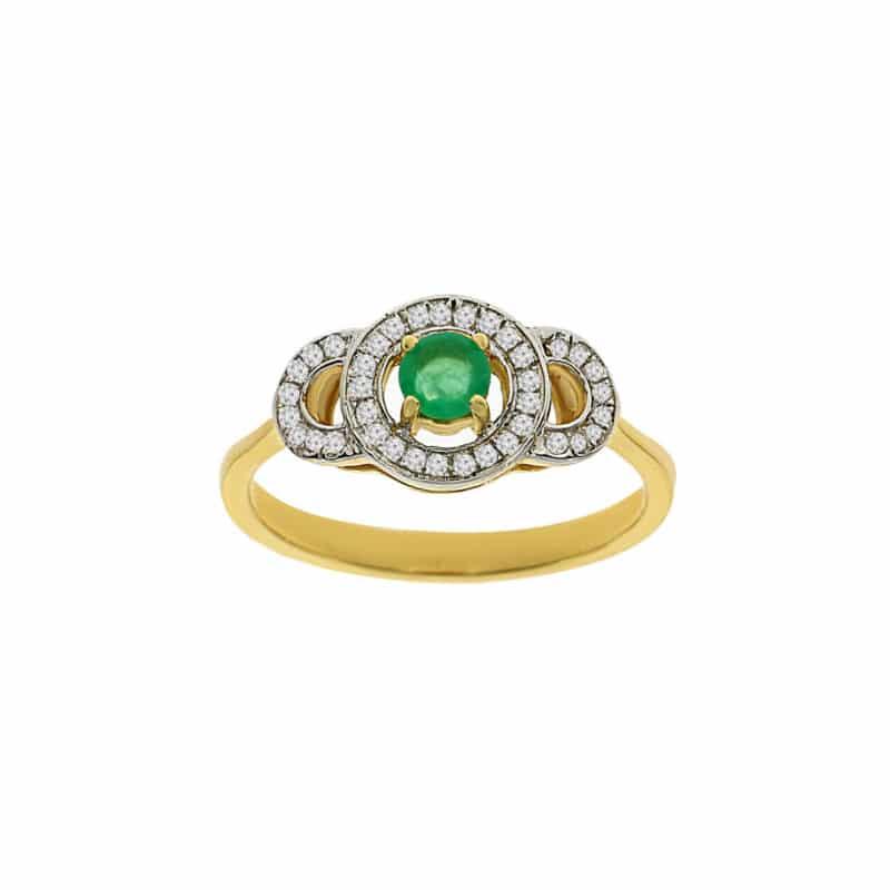 טבעת אמרלד 0.20 קראט, זהב-צהוב 14 קראט, משובצת יהלומים
