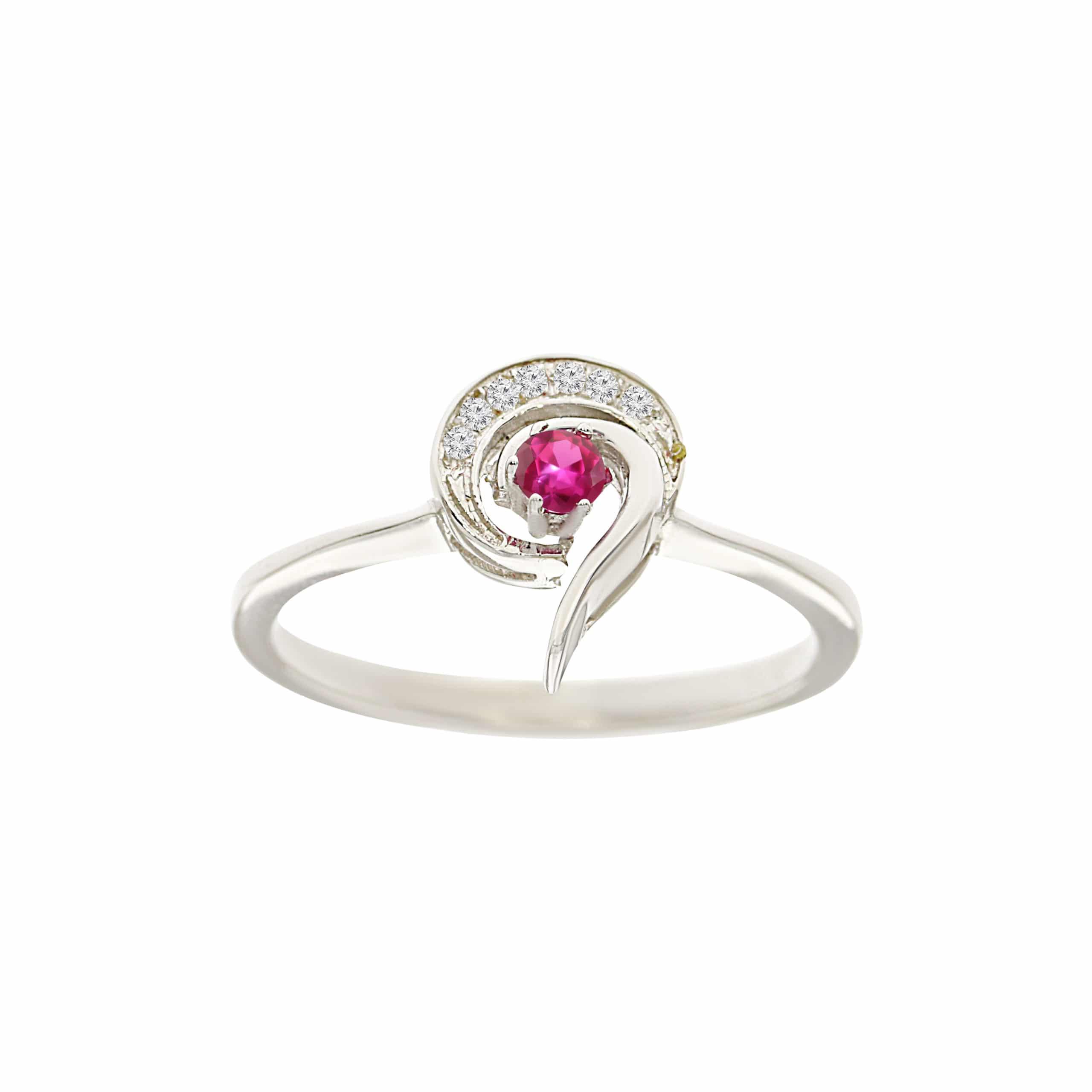 טבעת אבן רובי 0.10 קראט, זהב-לבן 14 קראט, משובצת יהלומים