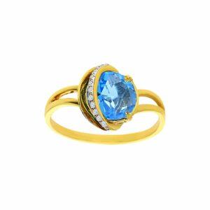 טבעת בלו טופז 1.68 קראט, זהב-צהוב 14 קראט, בשיבוץ 0.04 קראט יהלומים