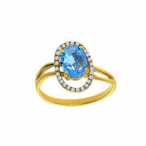 טבעת טופז-כחול 1.57 קראט, זהב-צהוב 14 קראט, משובצת יהלומים