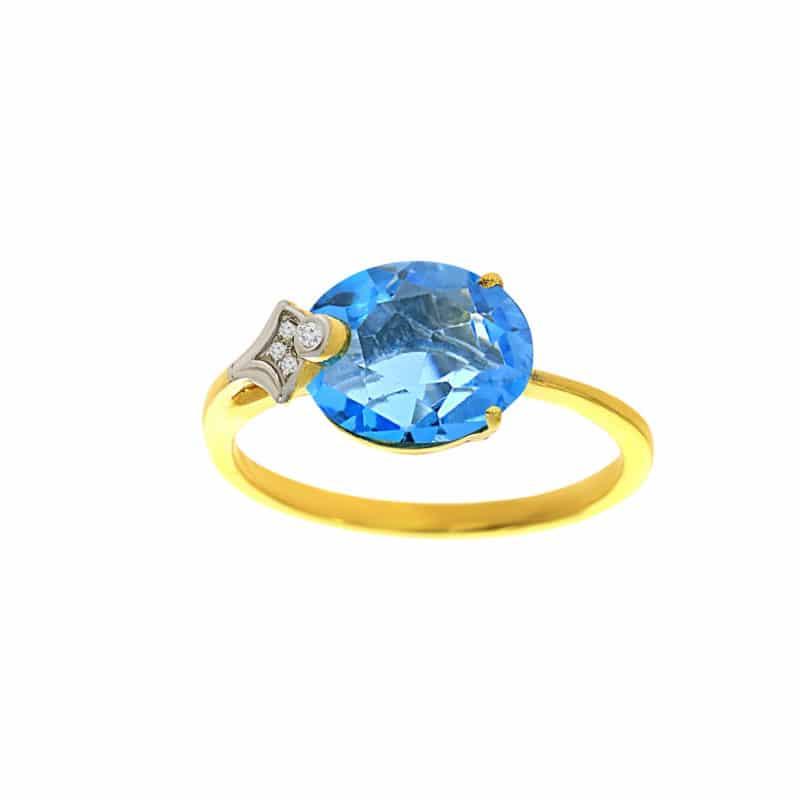 טבעת טופז-כחול 3.07 קראט, זהב-צהוב 14 קראט, משובצת יהלומים