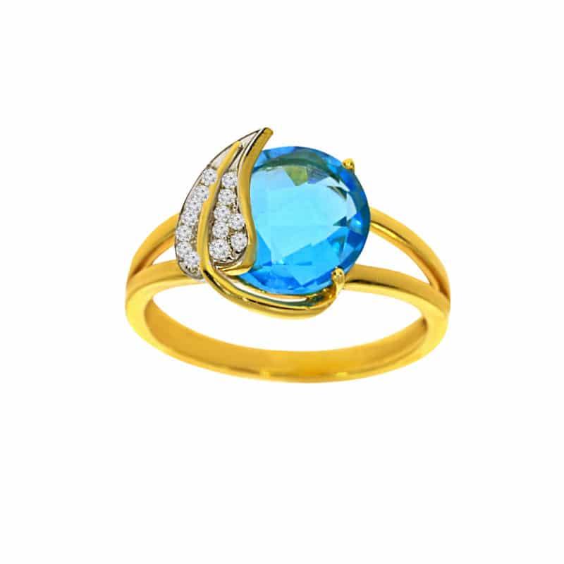 טבעת טופז-כחול 2.90 קראט, זהב-צהוב 14 קראט, משובצת יהלומים