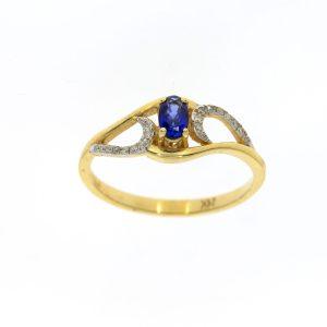 טבעת ספיר 0.31 קראט משובצת 0.05 יהלומים זהב צהוב 14 קראט
