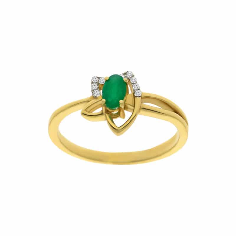 טבעת אמרלד 0.30 קראט, זהב-צהוב 14 קראט, משובצת יהלומים