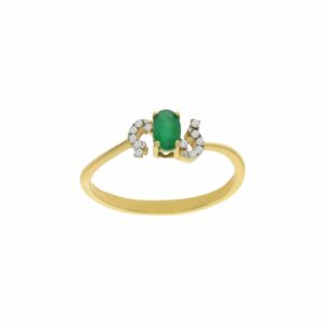 0.29 carat Emerald Ring , 14 karat yellow Gold, set with Diamonds