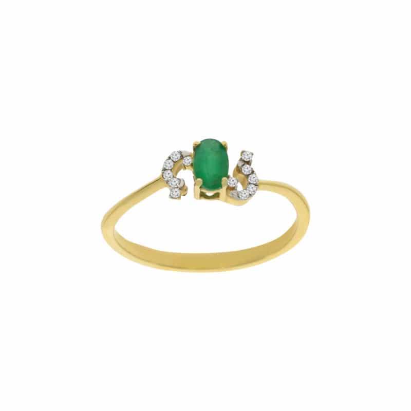 טבעת אמרלד 0.29 קראט, זהב-צהוב 14 קראט, משובצת יהלומים