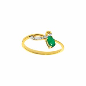 0.24 carat Emerald Ring , 14 karat yellow Gold, set with Diamonds