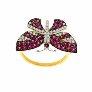 טבעת רובי בצורת פרפר, זהב-צהוב 14 קראט