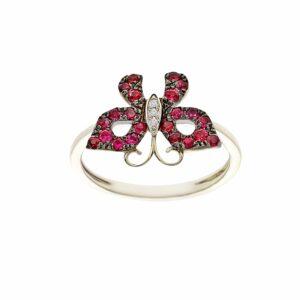 טבעת רובי בצורת פרפר, זהב-לבן 14 קראט