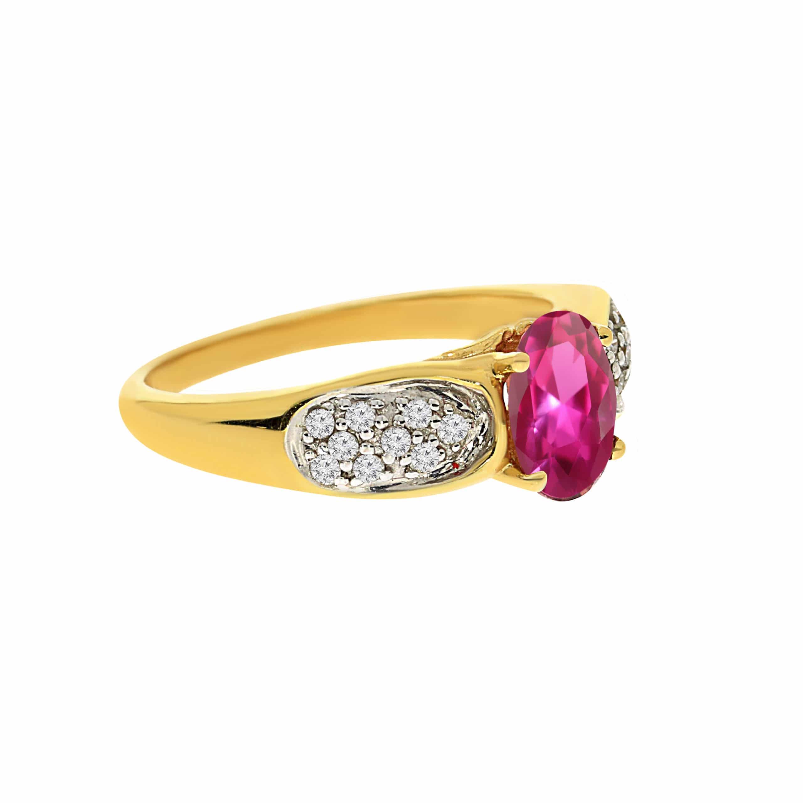 טבעת אבן רובי 1.40 קראט ויהלומים 0.18 קראט זהב צהוב 14 קראט