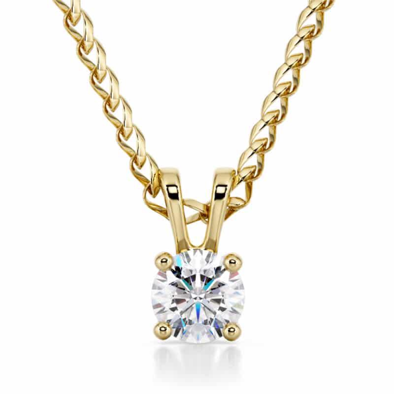 שרשרת יהלום משובץ בתליון זהב-לבן או צהוב 14 קראט, דגם דניאלה