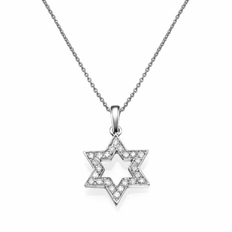 שרשרת יהלומים 0.25 קראט משובצים בתליון מגן דוד, זהב-לבן 14 קראט