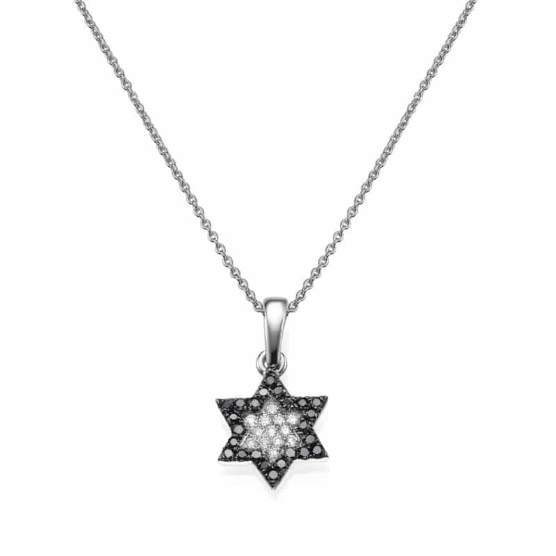 שרשרת יהלומים שחורים ולבנים משובצים בתליון מגן דוד, זהב-לבן 14 קראט
