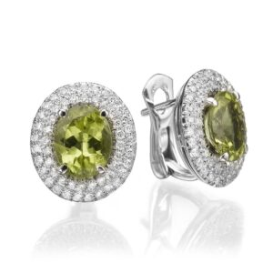 5.99 carat Peridot gemstones in 14 karat white Gold Earrings, set with 0.96 carat Diamonds