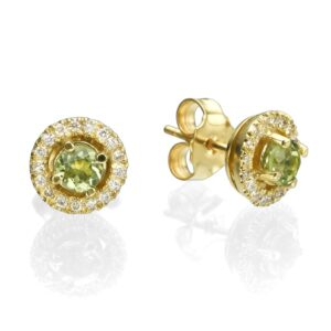 0.55 carat Peridot gemstones in 14 karat yellow Gold Earrings, set with 0.22 carat Diamonds