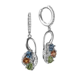 1.75 carat Blue Topaz, Sapphire and Peridot gemstones in 18 karat white Gold Earrings set with Diamonds