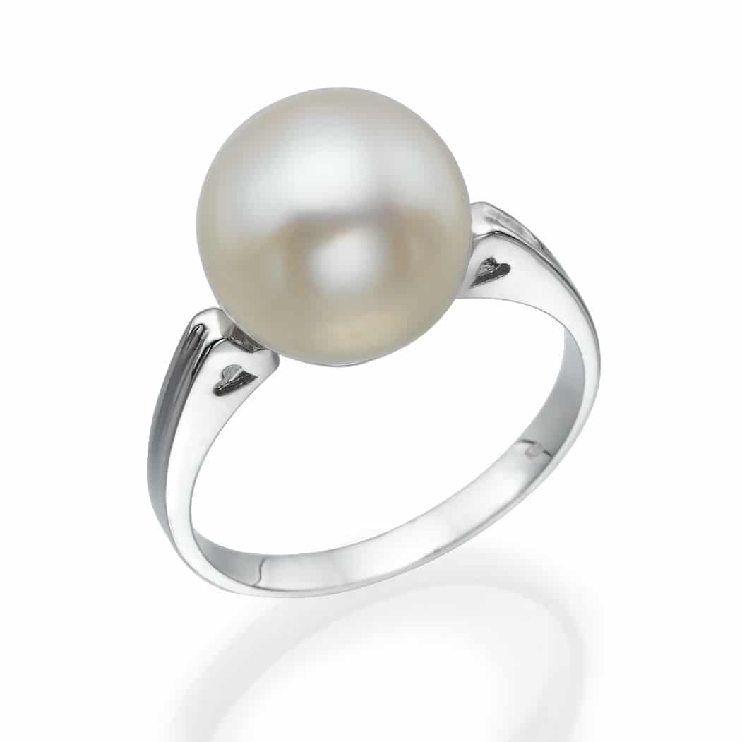 טבעת פנינה קלאסית, זהב-לבן 9 קראט