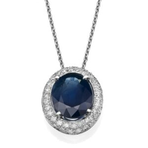 Diamond and Sapphires Necklace set with a 14 karat yellow Gold Pendant