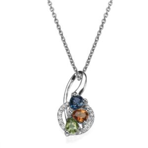 Diamonds, Blue Topaz, Peridot and Sapphires gemstones Necklace set in a 18 karat white Gold Pendant