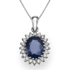 Diamonds and Sapphire gemstones Necklace set with a 14 karat white Gold Pendant