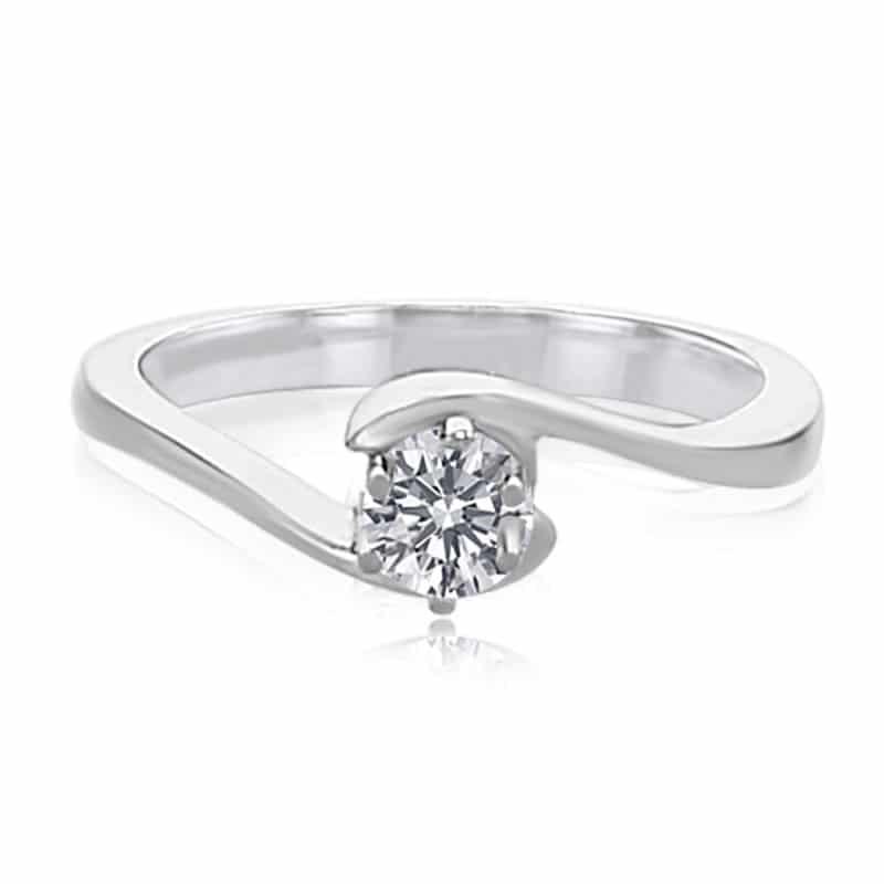 מבצע מיוחד טבעת אירוסין יהלום רבע קראט זהב לבן 14 קראט