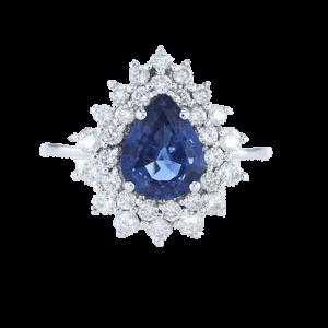 טבעת ספיר 2.03 קראט, זהב-לבן 18 קראט, משובצת יהלומים