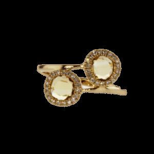 טבעת סיטרין 0.56 קראט, זהב-ורוד 14 קראט, משובצת 0.11 קראט יהלומים