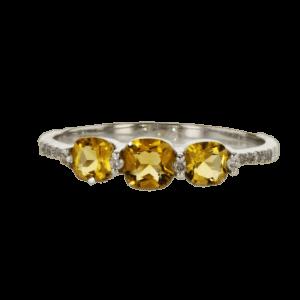 טבעת סיטרין 0.60 קראט, זהב-לבן 14 קראט, משובצת 0.06 קראט יהלומים