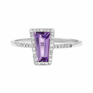 0.71 carat Amethyst gemstones, 14 carat white Gold Ring set with Diamonds