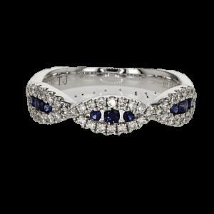טבעת ספיר 0.18 קראט, זהב-לבן 18 קראט, משובצת 0.33 קראט יהלומים