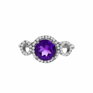 1.35 carat Amethyst gemstones, 9 carat white Gold Ring set with Diamonds