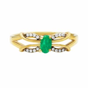 0.22 carat Emerald Ring, yellow Gold, set with Diamonds