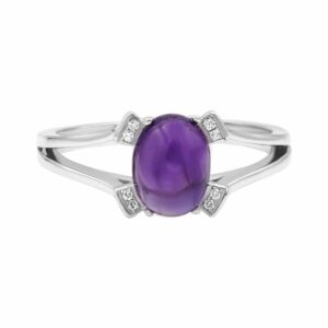 1.43 carat Amethyst gemstones, 14 carat white Gold Ring set with Diamonds